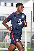 USA National Mens Team midfielder Bryang Kayo runs in drills during training camp, Friday, Jan. 10, 2020, in Bradenton, Fla. (Kim Hukari/Image of Sport)