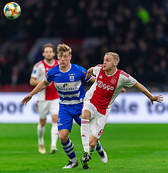 13-03-2019 NED: Ajax - PEC Zwolle, Amsterdam<br /> Ajax has booked an oppressive victory over PEC Zwolle without entertaining the public 2-1 / Zian Flemming #14 of PEC Zwolle, Donny van de Beek #6 of Ajax