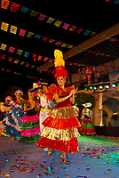 Mexican dancers, Folkloric performance at the Plaza Machado at night, Old Town, Mazatlan, Sinaloa, Mexico