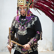 Aztec dancer performing in Zocolo, Mexico City