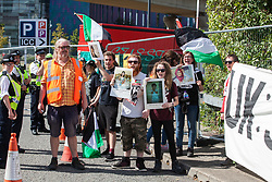 London, UK. 2 September, 2019. Activists protest outside the Excel Centre on the first day of week-long protests against DSEI 2019, the world's largest arms fair. The first day of creative action was hosted by activists calling for a ban on arms exports to Israel and featured workshops, speakers, street theatre and dance. Israeli arms companies display weapons at DSEI marketed as 'combat-proven' following deployment against Palestinian communities.