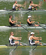 Lucerne, SWITZERLAND, GBR M2X, Bow Matt WELLS and Steve ROWBOTHAM,  competing at the 2007 FISA World Cup, Lucerne, on the Rotsee Lake, 13/07/2007  [Mandatory Credit Peter Spurrier/ Intersport Images] , Rowing Course, Lake Rottsee, Lucerne, SWITZERLAND.