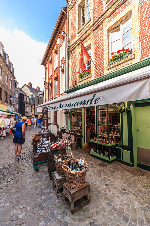 Calvados shop in Honfleur, France. Calvados is a vital source of living for several apple farmers, calvados producers and overall tourist business in Pays d'Auge region.