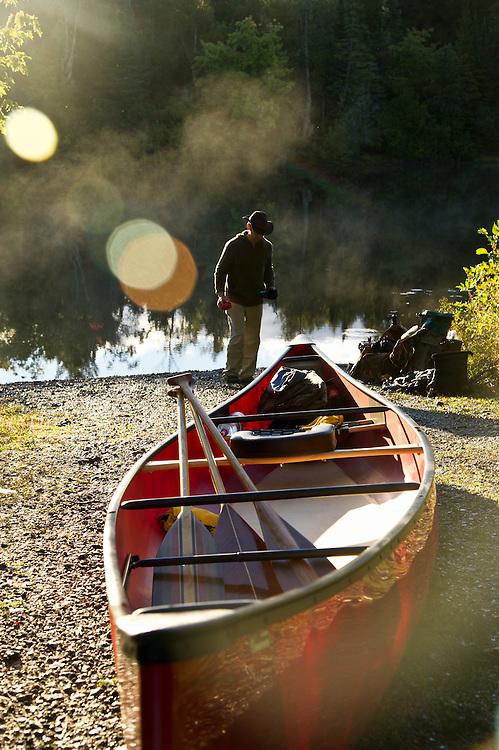 Early morning canoe launch on the Tahquamenon River near Newberry Michigan.