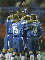 Fotball<br /> Foto: SBI/Digitalsport<br /> NORWAY ONLY<br /> <br /> Wigan Athletic v Crewe Alexandra.<br /> Coca-Cola Championship.<br /> <br /> 19/10/2004.<br /> <br /> Wigan's Nathan Ellington is mobbed by team mates after scoring his second and teams third
