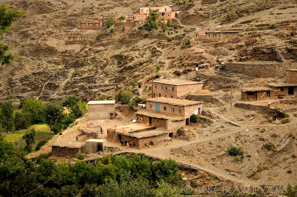 Morocco, High Atlas Mountains. Small Berber village situated near Tiz'n'Tichka.