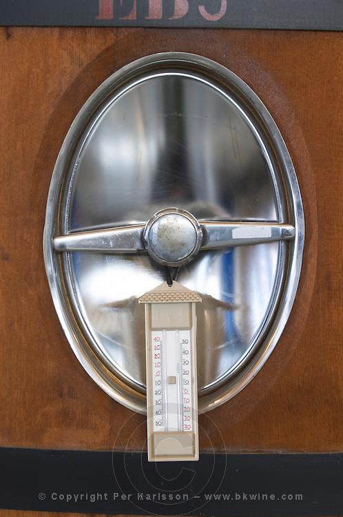 Fermentation tanks. Max min thermometer. Chateau Brane Cantenac, Margaux, Medoc, bordeaux, France