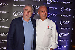 Left to right, Robert De Niro and Nobu Matsuhisa at the launch of Nobu Hotel London Shoreditch,10-50 Willow Street, London, England. 15 May 2018.