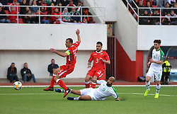 Gibraltar's Roy Chipolina (left) and Republic of Ireland's David McGoldrick (right) battle for the ball during the UEFA Euro 2020 Qualifying, Group D match at the Victoria Stadium, Gibraltar.