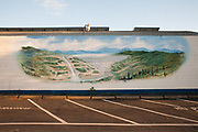 At lake Oroville a mural of the Oroville dam, the tallest in the US, represents the reclamation ideal. High quality water, reserved during the winter and delivered upon request to farmers and cities in the arid West.
