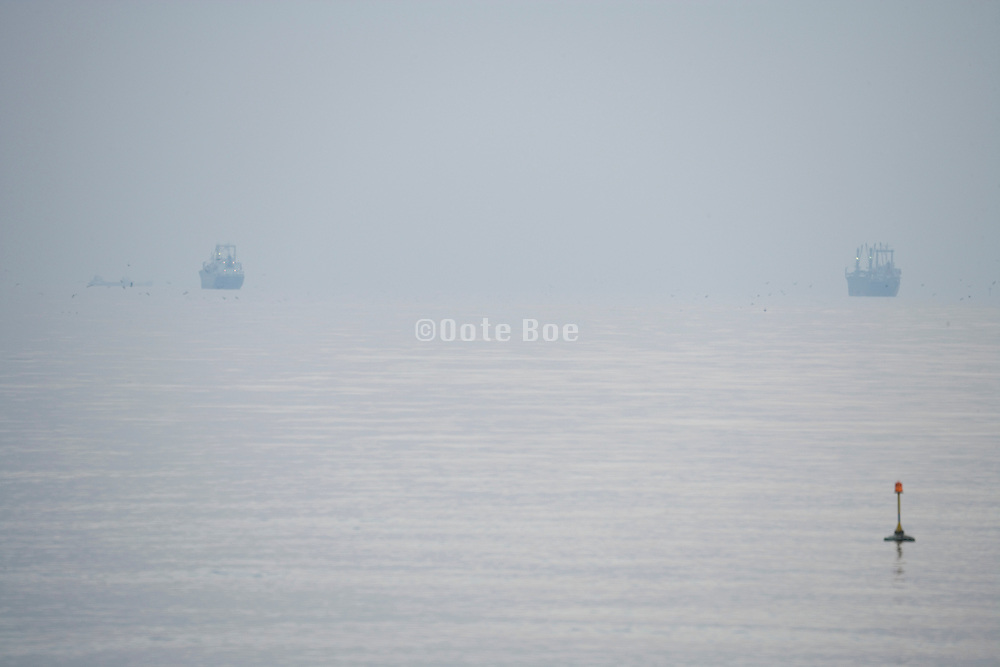 open sea seen from the coast with large ships at the horizon