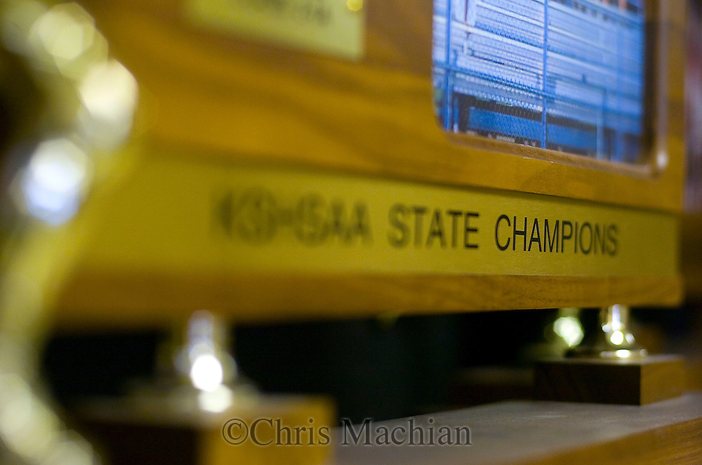 11/7/07 Smith Center, KS.Trophy case at Smith Center High School...(Chris Machian/Prairie Pixel Group)