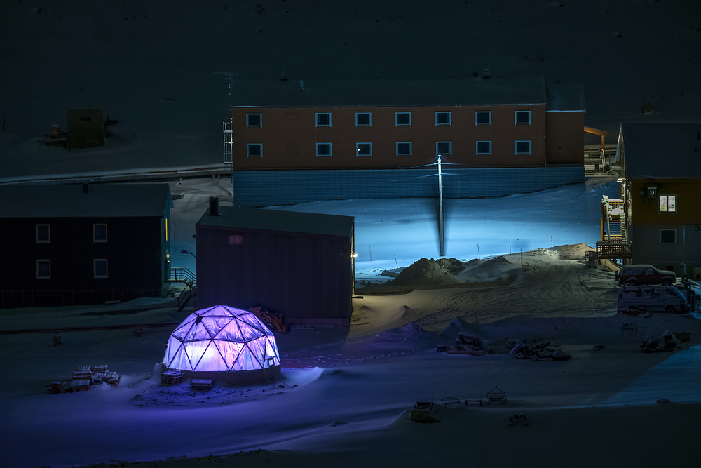 Even though it looks like a modern art installation illuminating the snowy Longyearbyen, it is a fully functioning Greenhouse built by Polar Permaculture (http://polarpermaculture.com/) project. I believe that in harsh climates people become more creative. And the fact that, when visiting Longyearbyen, you can taste vegetables and crops grown there is a proof of that.