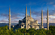 The Sultan Ahmed Mosque (Sultanahmet Camii) or Blue Mosque, Istanbul, Turkey. Built from 1609 to 1616 during the rule of Ahmed I.<br /> <br /> If you prefer to buy from our ALAMY PHOTO LIBRARY  Collection visit : https://www.alamy.com/portfolio/paul-williams-funkystock/blue-mosque-istanbul.html<br /> <br /> Visit our TURKEY PHOTO COLLECTIONS for more photos to download or buy as wall art prints https://funkystock.photoshelter.com/gallery-collection/3f-Pictures-of-Turkey-Turkey-Photos-Images-Fotos/C0000U.hJWkZxAbg