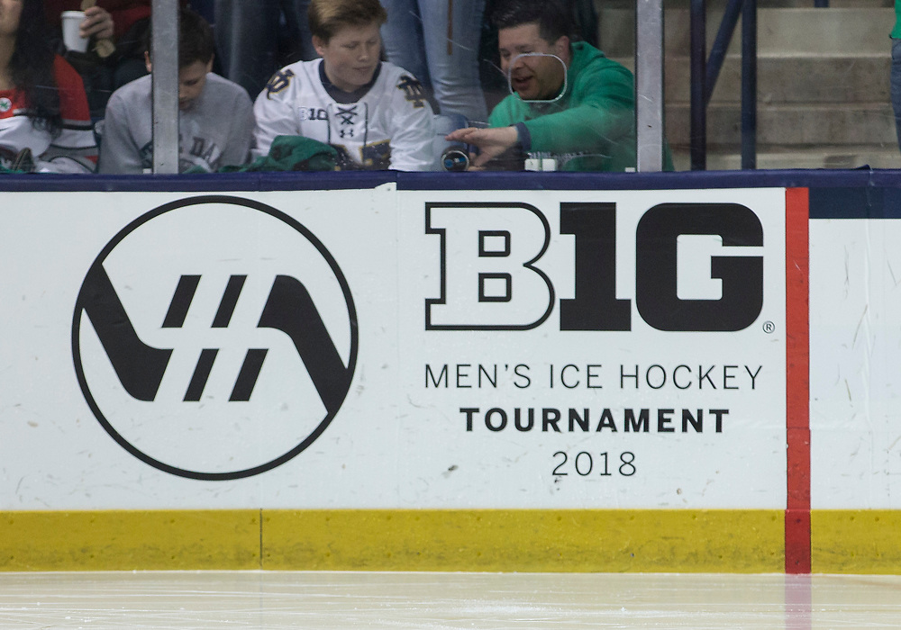 March 17, 2018:  A general view of the Big 10 tournament signage during NCAA Hockey game action between the Notre Dame Fighting Irish and the Ohio State Buckeyes at Compton Family Ice Arena in South Bend, Indiana.  Notre Dame defeated Ohio State 3-2 in overtime.  John Mersits/CSM