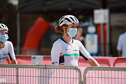 Leah Thomas (USA) at Strade Bianche - Elite Women 2020, a 136 km road race starting and finishing in Siena, Italy on August 1, 2020. Photo by Sean Robinson/velofocus.com