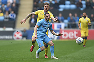 Coventry City striker (on loan from Portsmouth) Conor Chaplin (10) looks to release the ball during the EFL Sky Bet League 1 match between Coventry City and Bristol Rovers at the Ricoh Arena, Coventry, England on 7 April 2019.