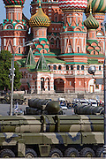 Moscow, Russia, 09/05/2008..Russian Topol-M ICBMs exiting Red Square during the 63rd Victory Day celebrations, marking the end of the Second World War, referred to in Russia as the Great Patriotic War.