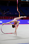 Tuncel Kamelya of Turkey competes during the Rhythmic Gymnastics Individual World Cup qualification at Vitrifrigo Arena on May 28-29, 2021, in Pesaro, Italy. She was born in Ienymahalle on June 21, 2002.