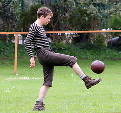 """A park in Altrincham, Manchester is transformed into a Victorian football ground for a match between Darwen v Old Etonian as filming for """"The English Game"""" which is a new drama by """"Downton Abbey """" creator Julian Fellowes begins. The drama is about how modern day football grew and how the FA was formed. Gerrard Kearns is pictured"""