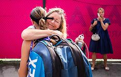 PORTOROZ, SLOVENIA - SEPTEMBER 17:  Kaja Juvan with her mother Katja Azman Juvan after winning in 3rd Round during the WTA 250 Zavarovalnica Sava Portoroz at SRC Marina, on September 17, 2021 in Portoroz / Portorose, Slovenia. Photo by Vid Ponikvar / Sportida