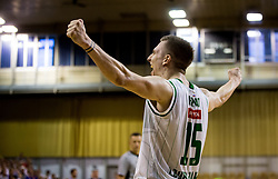 Gregor Hrovat #15 of KK Union Olimpija celebrates after winning during basketball match between KK Union Olimpija and KK Rogaska in 2nd Final game of Liga Nova KBM za prvaka 2016/17, on May 19, 2017 in Hala Tivoli, Ljubljana, Slovenia. Photo by Vid Ponikvar / Sportida