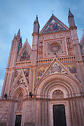The facade of Duomo di Orvieto at night, Orvieto, Umbria, Italy.