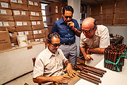 Ex Pat Cuban workers at the Padron Cigar Co. in Miami, Florida hand roll cigars made with  Cuban seed tobacco. 1979.