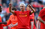 Ian Rush of Liverpool legends team shows his appreciation to the fans at the end of the game. Liverpool Legends  v Real Madrid Legends, Charity match for the LFC Foundation at the Anfield stadium in Liverpool, Merseyside on Saturday 25th March 2017.<br /> pic by Chris Stading, Andrew Orchard sports photography.