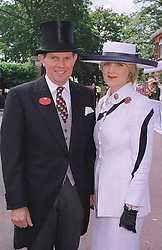 MR & MRS IAN SHACKLETON she is royal lawyer Fiona Shackleton, at Royal Ascot on 15th June 1999.MTG 68