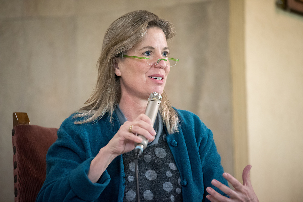 1 December 2019, Madrid, Spain: Lindsey Fielder Cook, representative for climate change with the Quaker UN office shares remarks, as representatives of various faiths gather in the Iglesia de Jesús (Church of Christ) of the Iglesia Evangélica Española (Evangelical Church of Spain) for an interfaith dialogue and prayer service on the eve of the United Nations climate conference (COP25) in Madrid, Spain.