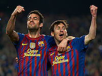 BARCELONA, SPAIN - APRIL 03:  Lionel Messi of Barcelona celebrates scoring with his teammate Cesc Fabregas during the UEFA Champions League quarter-final second leg match between FC Barcelona and AC Milan at the Camp Nou stadium on April 3, 2012 in Barcelona, Spain.  (Photo by Manuel Queimadelos Alonso/Getty Images)