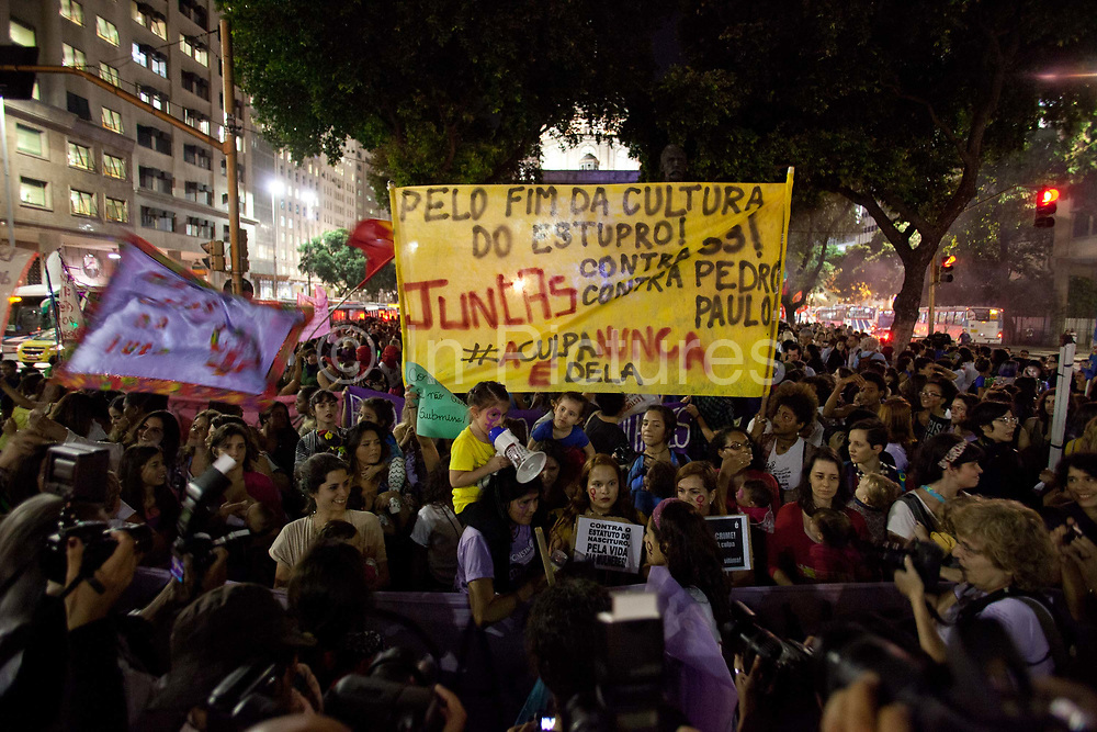 Womens Rights / Feminism March on 1st June 2016 in Rio de Janeiro. Thousands of women, joined by some men, marched in central Rio de Janeiro alongside other cities in Brazil, to demand more respect for women and regonition throughout, what is in some ways a macho society. The march was also in reaction to a brutal gang rape last week in Santa Cruz, Rio de Janeiro, where the suspects posted a video of the assault on social media, the events have shocked the country.