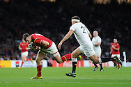 Gareth Davies of Wales scores his try late in 2nd half. Rugby World Cup 2015 pool A match, England v Wales at Twickenham Stadium in London, England  on Saturday 26th September 2015.<br /> pic by  Andrew Orchard, Andrew Orchard sports photography.