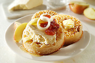 Cooked crumpets with Wensleydale cheese topping