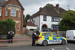 © Licensed to London News Pictures 15/09/2021. <br /> Bromley, UK, A police cordon is in place. A 51 year old man has been stabbed to death in Bromley, Greater London last night. Met police were called at 10.51pm and discovered the victim with multiple wounds. Photo credit:Grant Falvey/LNP