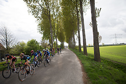 Jip van den Bos (NED) of Regioteam Noord Holland leads the second chasing group near the end of the Omloop van Borsele - a 107.1 km road race, starting and finishing in s'-Heerenhoek on April 22, 2017, in Borsele, the Netherlands.