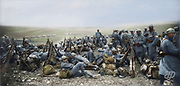 """Colorized photographs soldiers from the World War One<br /> <br /> With his impressive colorized photographs of the World War One, Frédéric Duriez gives us a new look at the conflict that ravaged the world between 1914 and 1918, revealing the difficult daily life of the French soldiers. <br /> <br /> Photo Shows: """"Around Nixéville (Department of Meuse - France), April 8, 1916. Troops returning from"""" """"Fort de Vaux"""" """".<br /> ©Frédéric Duriez/Exclusivepix Media"""