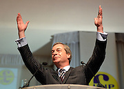 © Licensed to London News Pictures. 23/03/2013. Exeter, UK. Nigel Farage makes his keynote speech to the conference.  The UK Independence Party (UKIP) 2013 Spring Conference is held at the Great Hall, Exeter University today, Saturday 23rd March 2013. Support for the party is rising after success in the recent Eastleigh by-election, where UKIP came second behind the Liberal Democrats. Photo credit : Stephen Simpson/LNP