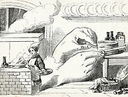 Giant Hands or the reward of industry a Fairy Tale from the book 'Fairy tales' by Forrester, Alfred Henry, 1804-1872 [Alfred Henry Forrester (10 September 1804 – 26 May 1872) was an English author, comics artist, illustrator and artist, who was also known under the pseudonym of Alfred Crowquill.