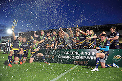 The Worcester Warriors team celebrate with the Greene King IPA Championship trophy - Photo mandatory by-line: Patrick Khachfe/JMP - Mobile: 07966 386802 27/05/2015 - SPORT - RUGBY UNION - Worcester - Sixways Stadium - Worcester Warriors v Bristol Rugby - Greene King IPA Championship Play-off Final (Second leg)