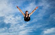 Covid-19 Level 4 Lockdown - New Zealand Olympic trampolinist Dylan Schmidt training at his Karaka home, during the Covid-19 Level 4 Lockdown. Auckland, New Zealand.  22  April  2020       Photo: Brett Phibbs / www.photosport.nz