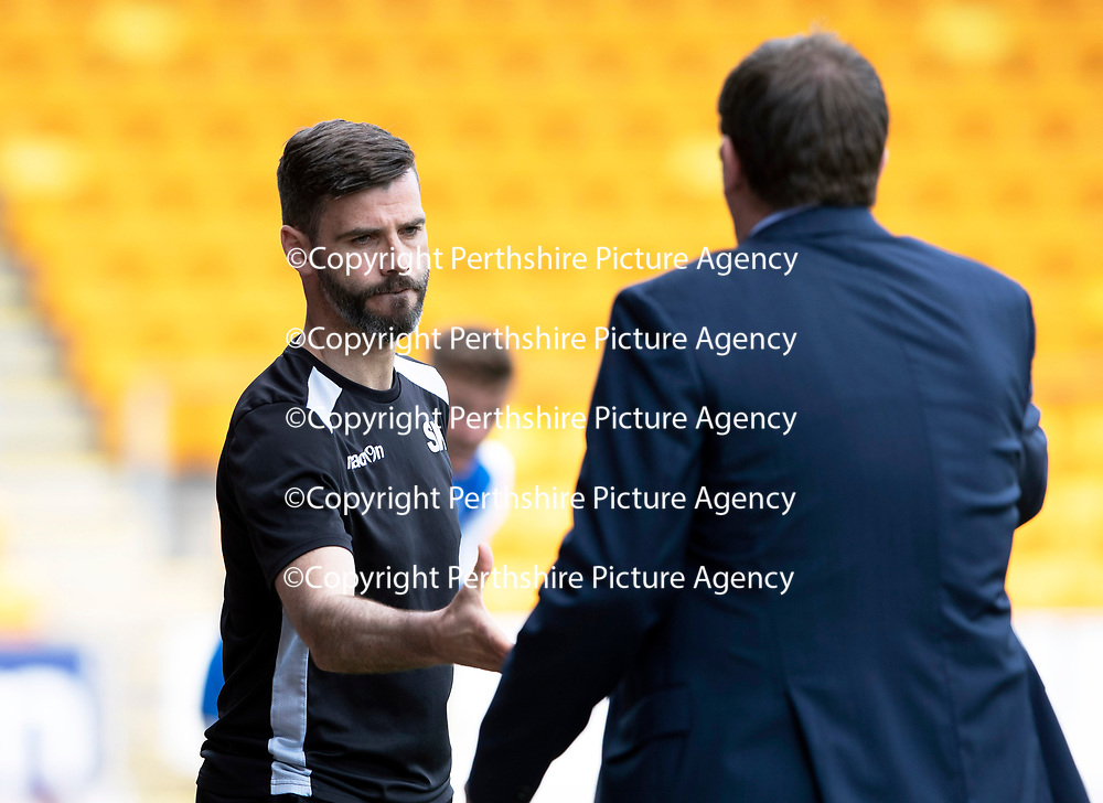 St Johnstone v Ross County…12.05.18…  McDiarmid Park    SPFL<br />Stuart Kettlewell skhakes hands with Tommy Wright<br />Picture by Graeme Hart. <br />Copyright Perthshire Picture Agency<br />Tel: 01738 623350  Mobile: 07990 594431