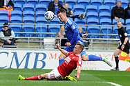 Nottingham's Benjamin Osborn (on floor) tackles Cardiff's Anthony Pilkington. EFL Skybet championship match, Cardiff city v Nottingham Forest at the Cardiff City Stadium in Cardiff, South Wales on Easter Monday 17th April 2017.<br /> pic by Carl Robertson, Andrew Orchard sports photography.