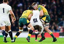 Izack Rodda of Australia makes a tip tackle on Elliot Daly of England - Mandatory by-line: Dougie Allward/JMP - 24/11/2018 - RUGBY - Twickenham Stadium - London, England - England v Australia - Quilter Internationals