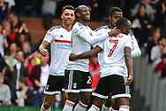 Fulham striker Sone Aluko (24) celebrates his goal 2-1 during the EFL Sky Bet Championship match between Fulham and Aston Villa at Craven Cottage, London, England on 17 April 2017. Photo by Jon Bromley.