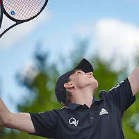 Wexford, PA - May 12:  During the Quaker Valley High School Varsity Boys Western Pennsylvania Interscholastic Athletic League Team Championships on May 12, 2021 at North Allegheny High School tennis courts in Wexford, PA.  (Photo by Shelley Lipton)