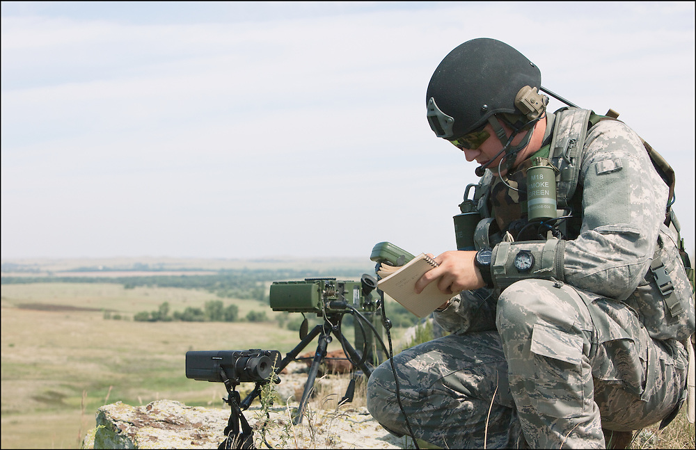 Ground troops training at the Smokey Hill Air National Guard Range coordinating air strikes from the ground.