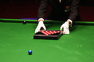 a referee puts the balls out on the table. Welsh open snooker 2010 at the Newport Centre, Newport, South Wales, day 1 on Mon 25th Jan 2010.   pic by  Andrew Orchard  , Andrew Orchard sports photography,