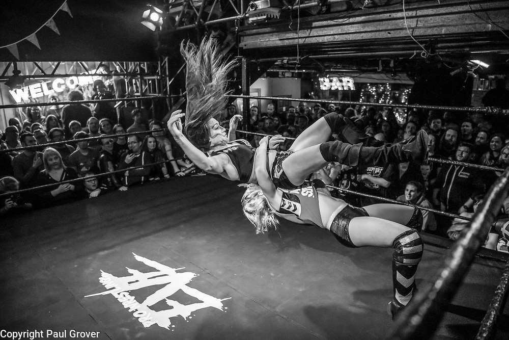 """Photo Dispatch.Pic Shows Wrestlers during thie bout at the EVE event at the Resistance Gallery in Bethnal Green.Photo Dispatch.. Eve was originally developed in 2010 by married couple Dann and Emily Read due to their desire to showcase women's professional wrestling.[1][2] They also wanted to provide positive female role models for their daughter.[1][3] Emily describes the promotion as a """"feminist, grassroots promotion,"""" as well as punk.[1] In 2012, Pro-Wrestling: EVE was included in Vice magazine's documentary The British Wrestler,[4] as well as a feature in Fabulous magazine.[5]<br /> In 2017, both women's wrestling and British professional wrestling in general enjoyed a growth in popularity internationally.[1] The promotion broadcasts shows on internet pay-per-view (iPPV).[6]<br /> <br /> The Pro-Wrestling: EVE Championship is a women's professional wrestlingchampionship. Championship reigns are determined by professional wrestling matches, in which competitors are involved in scripted rivalries. These narratives create feuds between the various competitors, which cast them as villains and heroines."""